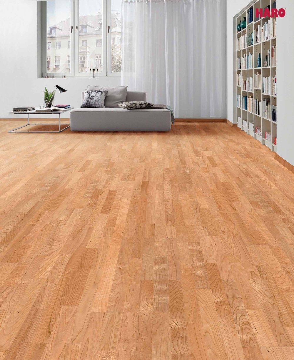 523811 haro parkett 3 stab schiffsboden 4000 amerikanischer kirschbaum trend lackiert. Black Bedroom Furniture Sets. Home Design Ideas