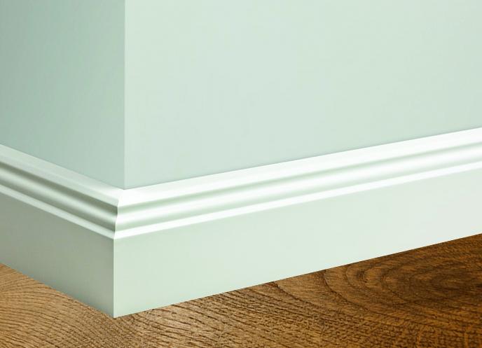 i do fussleiste weiss lackiert mit doppelter ziernut und profilierter oberkante 16 x 100 mm. Black Bedroom Furniture Sets. Home Design Ideas